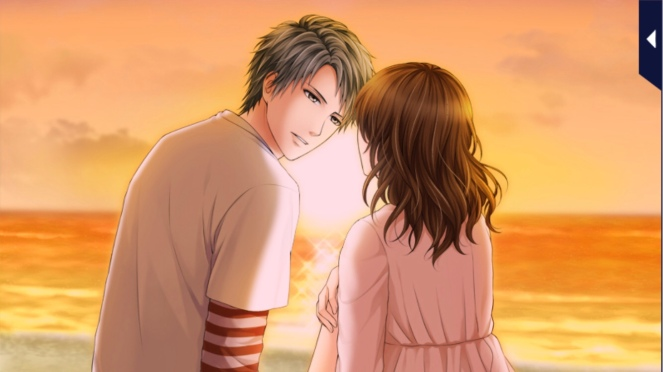 Sosuke and the MC sitting at the beach while the sun is setting.