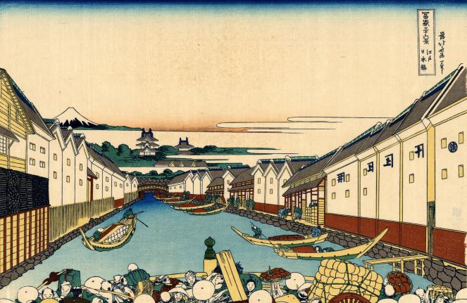 woodblock print of Nihonbashi bridge in Edo